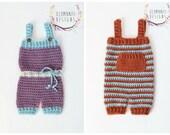 Boy and Girl Newborn Romper Crochet Pattern - Newborn Romper Crochet Pattern - Instant Download