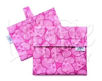 Reusable Sandwich Bag & Reusable Snack Bag Set in BARBIE HEADS print - Velcro - ECOfriendly - Food Safe - Dishwasher Safe - Back to School