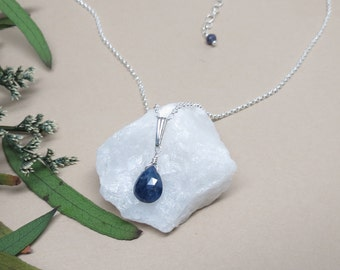 Blue Sapphire Necklace, Gemstone Necklace In Sterling Silver, September Birthstone, Blue Birthstone Pendent, 16-18.5 Inches Length