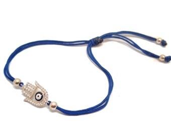 FREE SHIPPING Hamsa Bracelet Hand Bracelet Silver Bracelet String Bracelet Blue Bracelet Enter FREESHIP16 coupon code at checkout
