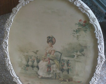 Girl in a Garden in an Oval White Gesso Frame 1800s