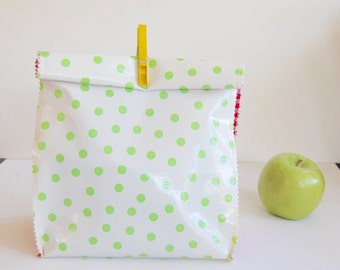Oil Cloth Lunch Bag in Green Polka/Pink Gingham