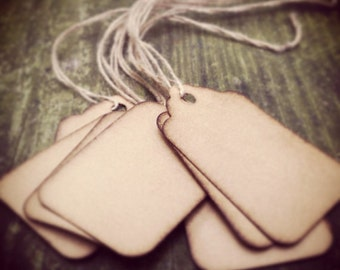 """100 Stained Scalloped Hang Tags, sized 1 3/4"""" x 1 3/32"""", Vintage, tags, Antique tags, Primitive tags"""