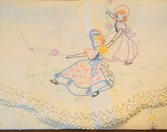 Vintage Table Runner with Embroidery Girls