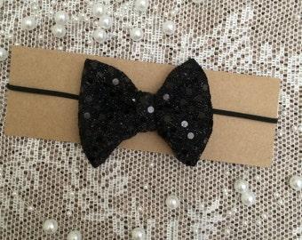 Black Sparkle Bow Headband On Black Elastic