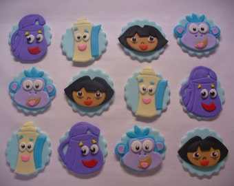12 DORA the EXPLORER Edible Fondant Cupcake Toppers