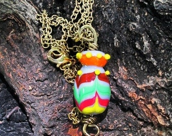 Glass Bottle Pendant, Lampwork Glass Vessel Necklace, Beaded Jewelry, Spring Accessories, Gift For Her, Glasshouselampwork