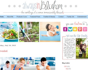 INSTANT DOWNLOAD - Premade Blogger Template - Happiness