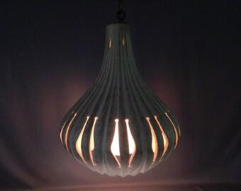 Outstanding Ceramic Vintage 1960s Organic Gourd Shaped Hanging Light Fixture, Pendant Fixture