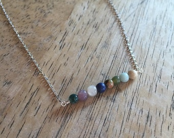 WANDERLUST - Multi color round bead bar necklace