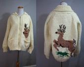 1960's Sweater // Cowichan with Deer // XL