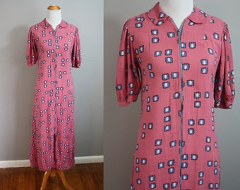 1930's Dress // Linen Feedsack // Small