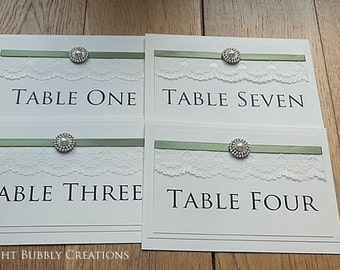5 x Wedding Table Name Cards, Table Number Cards, Reception, Table Numbers. Lace and satin ribbon with a pearl embellishment in Sage Green