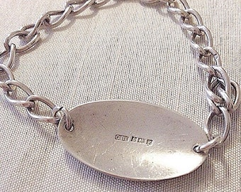 Chunky vintage solid sterling silver bracelet- fully hallmarked