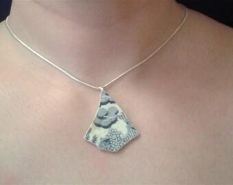 Willow Pattern Fragment Pendant Necklace, Thames Mudlark, 925 Silver