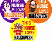 This Nurse Loves Halloween Bottle Cap Images 4x6 Bottlecap Collage Scrapbooking Jewelry Hairbow Center