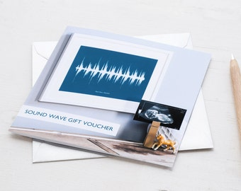 GIFT VOUCHER for Personalised Your Voice Song Sound Wave Print Sentimental Unique New Baby Shower Wedding Anniversary Music Ultrasound Teal