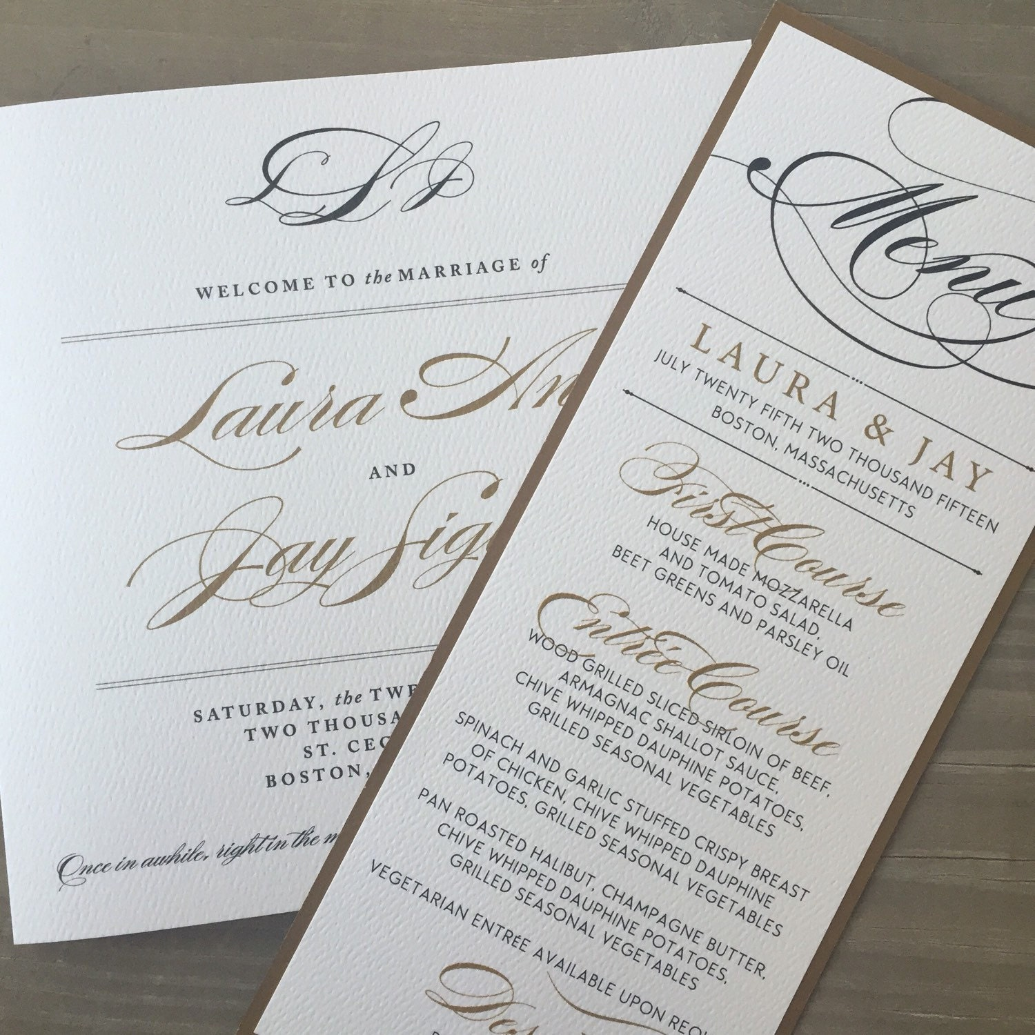 Elegant Wedding Menus And Place Cards //Purchase This Listing