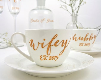 Wifey / Hubby Bone China Cup and Saucer
