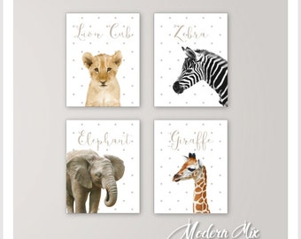 Nursery Decor Baby Animals Safari Nursery Art Zoo Animal Nursery Prints Baby Elephant Lion Rhino  Zebra Monkey Giraffe Set of 4 BA 001