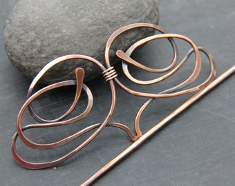 Antique copper hair slide, hair barrette, hair pin, hair clip, hair stick, modern style hair accessories, hammered, hair fork