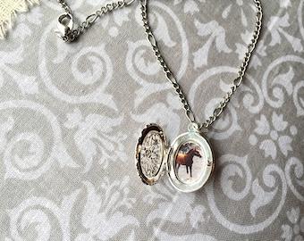 Locket Necklace Horse Custom Filigree