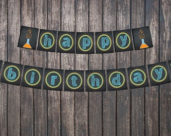 Science Scientist party Happy Birthday Banner - Mad Science Party - INSTANT DOWNLOAD!