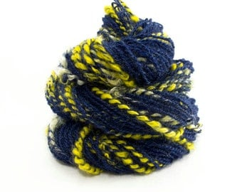 Handspun Yarn 2-ply. Kid Mohair locks. Dyed cobalt blue with yellow lock accents.