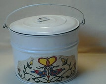 Vintage Tin Berry Bucket with Lid ~ Pail ~ Container ~ 1980's ~ Metal Pail ~ Tin Bucket ~ JAMAR ~ Lunch Pail ~ Pot ~ Folk Art ~ Flower Pail