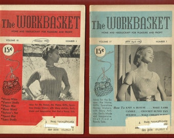 1950's Knitted Mid Century Sweaters Pattern Plus Crafts Workbasket Vol 17 & 18