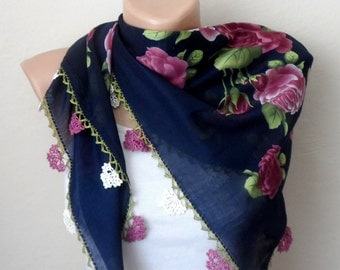 blue scarf floral print scarf  cotton scarf turkish scarf yemeni scarf women accessories trendy scarf gift for her