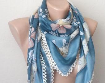 blue scarf brown  flower cream white pink cotton turkish yemeni oya handmade