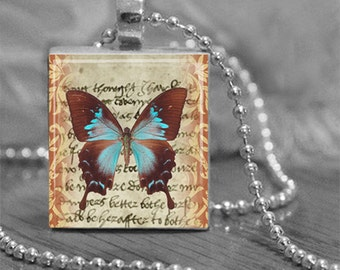 Aged Written Butterfly Scrabble Tile Pendant Necklace or Key Chain Butterfly Jewelry Scrabble Necklace