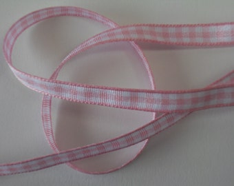Quality Woven Edge 7mm Pink Gingham Ribbon