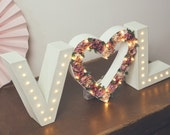 Initials & flower heart light up letter lights, letter lights, marquee lights, flower letters, lighted intials