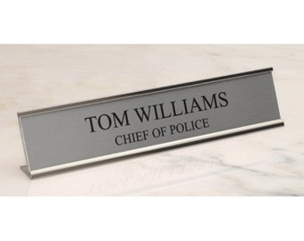 Name Plate for Desk in Silver with Silver Holder - Engraving Included