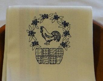 Navy Patchwork Rooster Cotton Kitchen Dish Towel