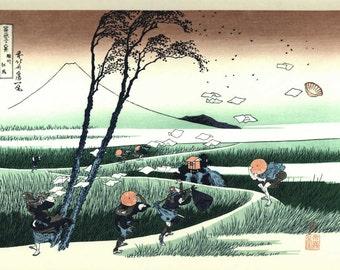 Original Japanese Hand colored woodblock Print From Japanese Katsushika Hokusa - Original WoodBlock - Gorgeous Print.