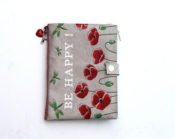 "Bag Organizer / multipoches illustrated linen poppies and dragonflies ""Be Happy!"""