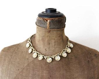Vintage Coro Necklace, Coro Rhinestone Necklace, Gold Link Necklace, Gold Collar Necklace, Gold Rhinestone Necklace, Chunky Gold Necklace