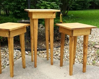Set Of THREE Reclaimed Wood Golden Oak Stained End Corner Entry ACCENT Tables  Table Set 25