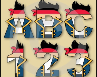 Jake (Neverland Pirates) Alphabet Letters & Numbers Clip Art Graphics