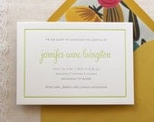 Letterpress Baby Birth Announcements - 50 flat cards with envelopes -2 ink color - custom designed, grey, green, yellow, newborn, baby