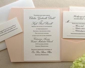 The Orchid Suite - Classic Letterpress Wedding Invitation Suite, Slate Grey, Blush Shimmer pocket enclosure, Formal, Pink, Simple