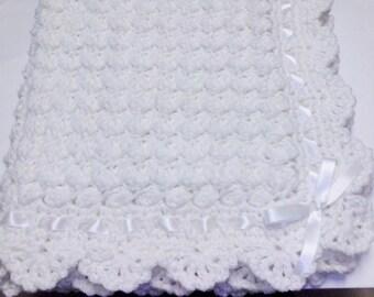 Crocheted White Pompadour Christening Baby Blanket Baptism
