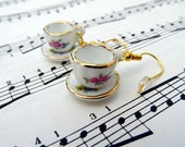 Tea cup earrings - miniature floral design china cups and saucers - Alice in Wonderland vintage tea party