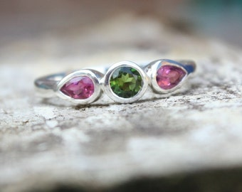 Pink & Green Tourmaline Trilogy Ring, Engagement, Promise, Commitment, Mothers ring