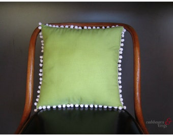 Apple Green Dots and White Pom Poms Cushion