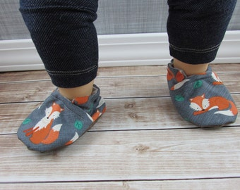 Fox Baby Shoes, Sly Tula Accessories, Orange Grey White Cotton Shoes, Toddler shoes, Soft Soled Shoes,  Custom Made, Cabooties