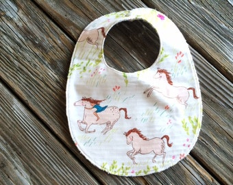 Baby/Toddler Bib ~ Summer//Horse//Meadow//Pink//Field//Nature//Farm